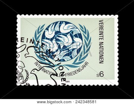 United Nations - Circa 1986 : Cancelled Postage Stamp Printed By United Nations, That Promotes Inter