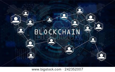Blockchain Network Concept, World Map Vector Background Illustration, Global Abstract Cryptocurrency