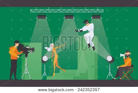 Vector Flat Scene With Superhero Movie Making Scene. Filming Director In Chair, Cameraman With Video
