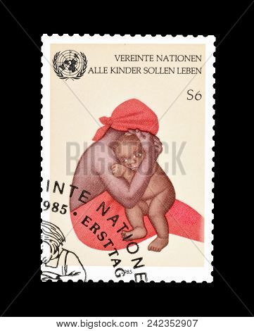 United Nations - Circa 1985 : Cancelled Postage Stamp Printed By United Nations, That Promotes Help
