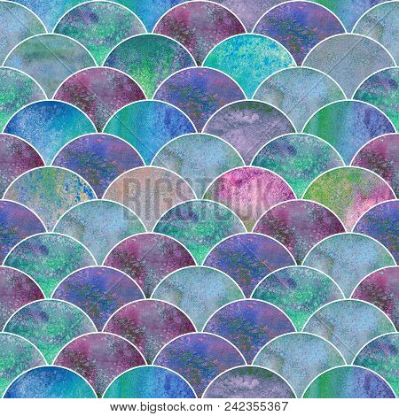 Fish Scale Ocean Wave Japanese Teal Purple Seamless Pattern. Watercolor Hand Drawn Colorful Texture
