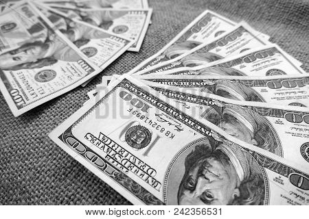 World And Usa Dollars,old Usa Banknote Hundred Dollars And New Banknote Hundred Dollars