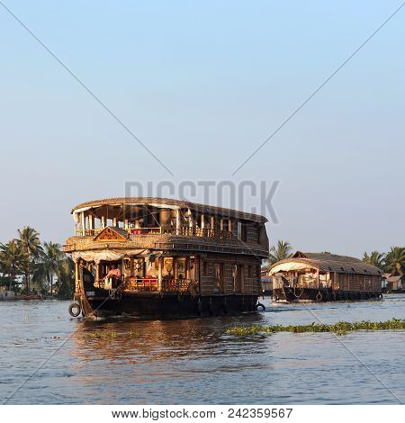 Alleppey, India - November 7, 2016: Tourists On Houseboat Floating On Backwaters In Kerala State