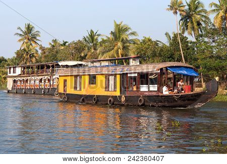 Houseboat On Backwaters In Kerala, South India
