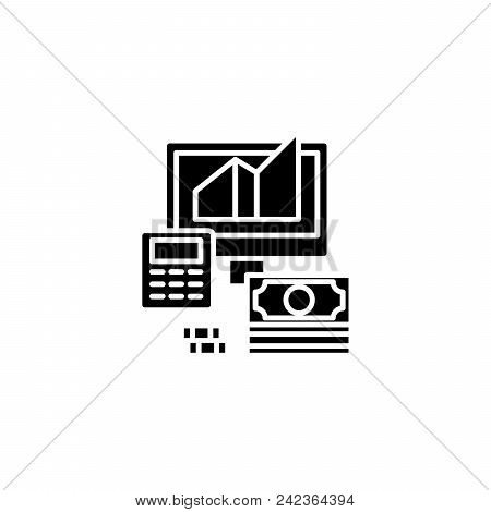Business Revenue Calculation Black Icon Concept. Business Revenue Calculation Flat  Vector Website S