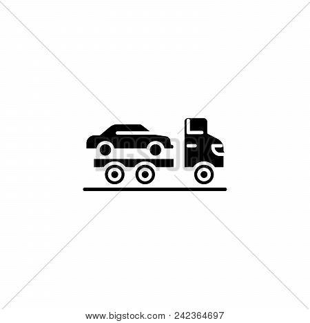Car Carrier Black Icon Concept. Car Carrier Flat  Vector Website Sign, Symbol, Illustration.