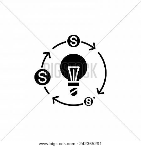 Cash Flows Black Icon Concept. Cash Flows Flat  Vector Website Sign, Symbol, Illustration.