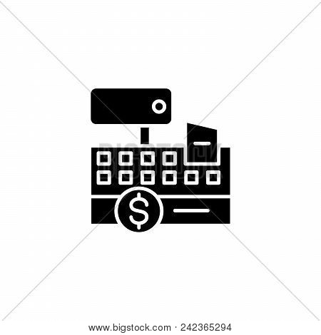Cash Register Black Icon Concept. Cash Register Flat  Vector Website Sign, Symbol, Illustration.