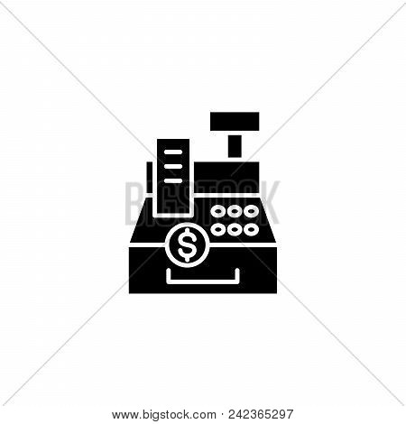 Cash Register Machine Black Icon Concept. Cash Register Machine Flat  Vector Website Sign, Symbol, I