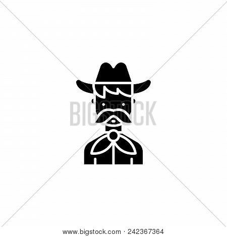Cowboy Black Icon Concept. Cowboy Flat  Vector Website Sign, Symbol, Illustration.
