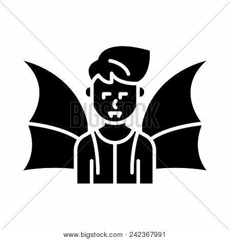 Daemon Black Icon Concept. Daemon Flat  Vector Website Sign, Symbol, Illustration.