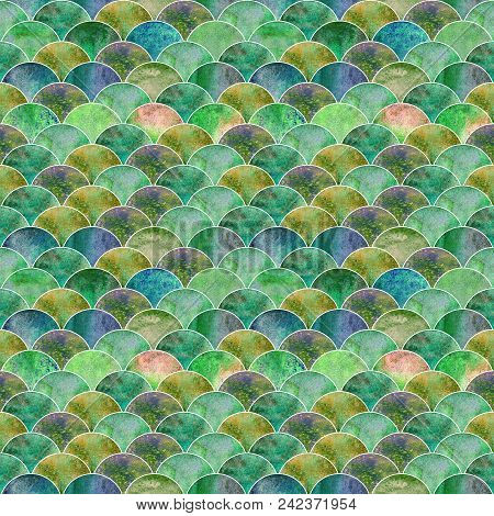 Fish Scale Ocean Wave Japanese Seamless Pattern. Watercolor Hand Drawn Green Teal Blue Yellow Textur