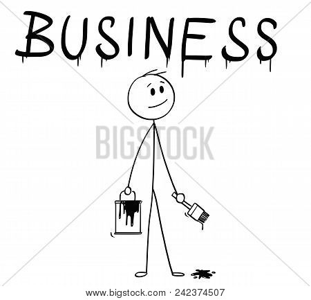 Cartoon Stick Man Drawing Conceptual Illustration Of Businessman With Brush And Paint Can Painting O