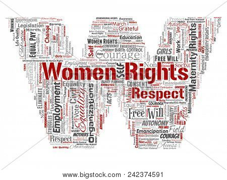 Conceptual women rights, equality, free-will letter font W red word cloud isolated background. Collage of feminism, empowerment, opportunities, awareness, courage, education, respect concept