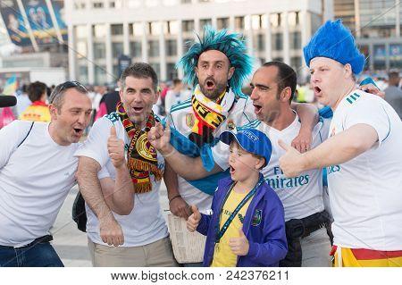 Kiev, Ukraine - May 26, 2018: Uefa Fan Of Fc Real Madrid And Liverpool Football Team Before Final Ue