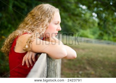 Young Woman Deep In Thought.