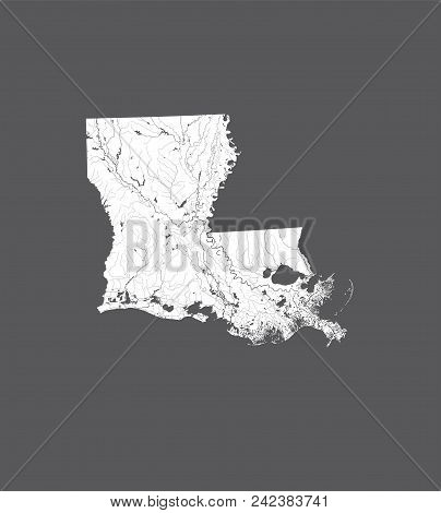 U.s. States - Map Of Louisiana. Hand Made. Rivers And Lakes Are Shown. Please Look At My Other Image