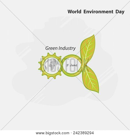 Gear,Infinite and Green concept.Globe and Leaf sign. World Environment day concept vector logo design template.June 5st World Environment day concept.World Environment day Awareness Idea Campaign.Vector illustration. poster