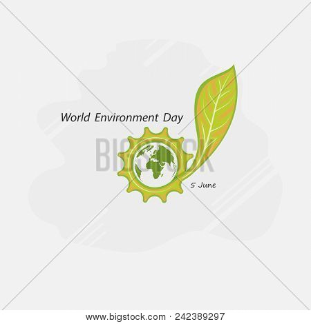 Gear Cog And Green Concept.globe And Leaf Sign. World Environment Day Concept Vector Logo Design Tem