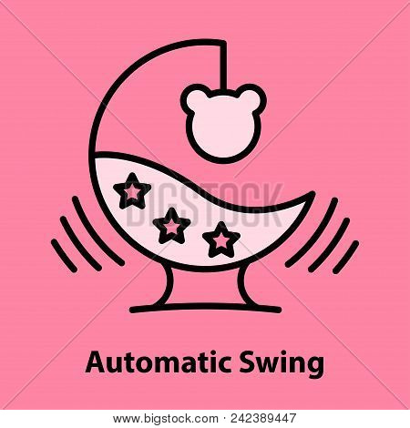 Line Icon Of Automatic Baby Bouncer On Pink Background. Child Gadjet Swing Logo Concept In Linear St