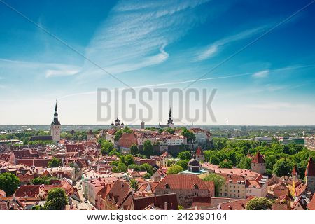 Scenic Summer Aerial Panorama Of The Old Town In Tallinn, Estonia.