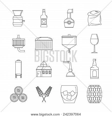 Whisky Bottle Glass Icons Set. Outline Illustration Of 16 Whisky Bottle Glass Vector Icons For Web