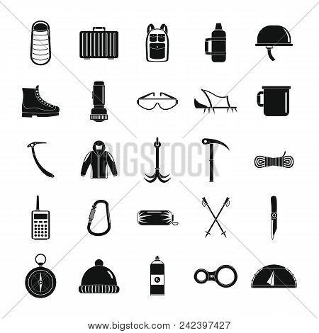 Mountaineering Equipment Icons Set. Simple Illustration Of 25 Mountaineering Equipment Vector Icons