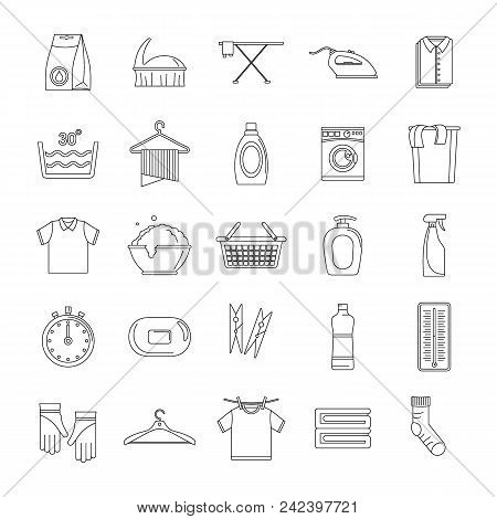Laundry Service Icons Set. Outline Illustration Of 25 Laundry Service Vector Icons For Web