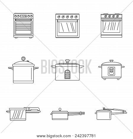 Cooker Oven Stove Pan Burner Icons Set. Outline Illustration Of 9 Cooker Oven Stove Pan Burner Vecto