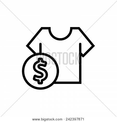 T-shirt Price, T-shirt Cost Outlined Symbol.  T-shirt Price Icon. T-shirt Price Icon. T-shirt Price