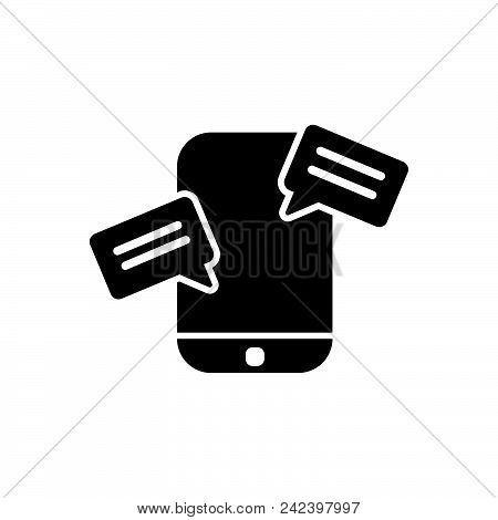 Mobile Chat Vector Icon On White Background. Mobile Chat Modern Icon For Graphic And Web Design. Mob