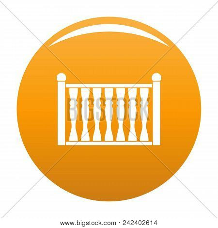 Fence With Column Icon. Simple Illustration Of Fence With Column Vector Icon For Any Design Orange