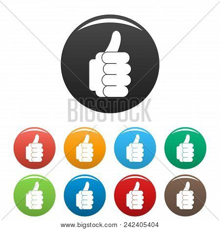Hand Approval Icon. Simple Illustration Of Hand Approval Vector Icons Set Color Isolated On White