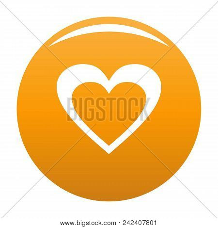 Huge Heart Icon. Simple Illustration Of Huge Heart Vector Icon For Any Design Orange