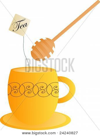 Orange tea cup with a honey dipper