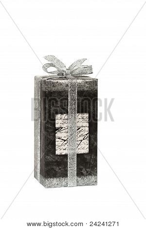 Gift Box Tied With Silver Ribbon