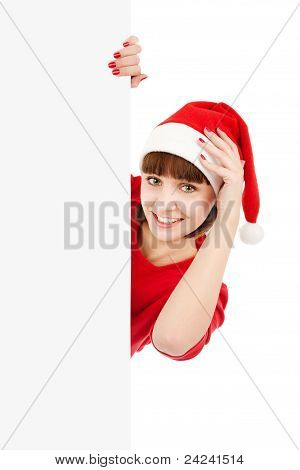 Santa Woman Holding Blank Sign Billboard