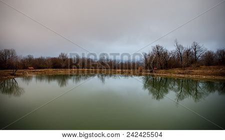 Landscape With Misty Morning Fog In The Forest Lake Or Beautiful Forest Lake In The Morning At Winte