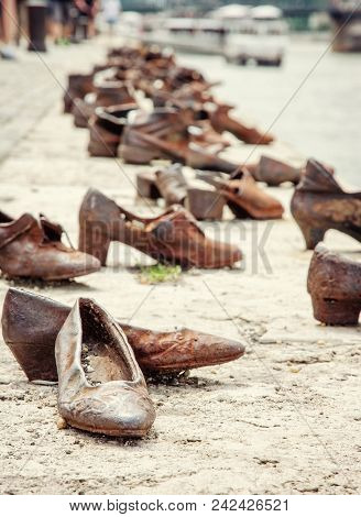 Shoes Monument On The Danube Bank Is A Memorial In Budapest, Hungary. Place Of Reverence. Symbolic O