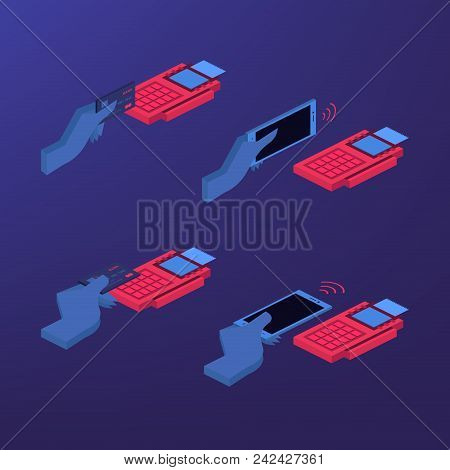 Mobile Payment Set Isolated Vector Illustration. Pos Terminal Confirm, Nfc Payment, Money Transferri