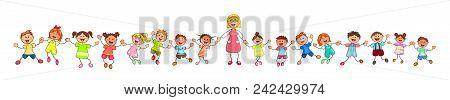 Joyful Little Children And A Teacher. A Group Of Children With A Teacher On A Walk. Group Of Cheerfu