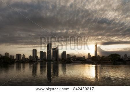 Surfers Paradise - Nov 27: Sunrise View Of Surfers Paradise With Q1 Building, One Of The Most Popula