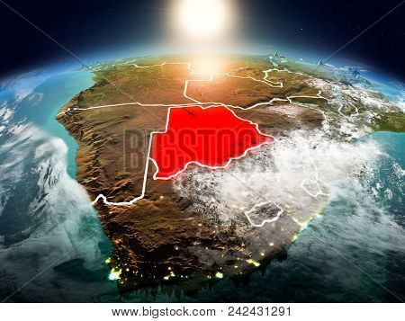 Botswana In Sunrise From Orbit