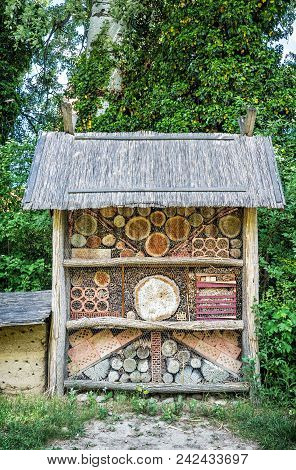 Insect Hotel In Park. Natural Scene. Symbolic Object.