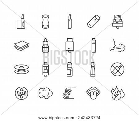 Simple Set Of Vape Related Vector Line Icons. Contains Such Icons As Rda, Atomizer, Drip Tip And Mor