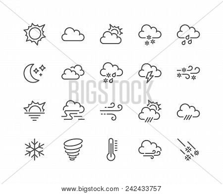 Simple Set Of Weather Related Vector Line Icons. Contains Such Icons As Wind, Blizzard, Sun, Rain An