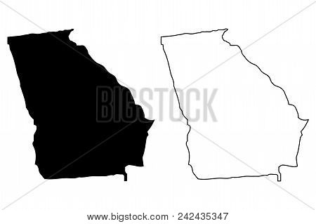 Georgia Map Vector Illustration, Scribble Sketch Georgia Map