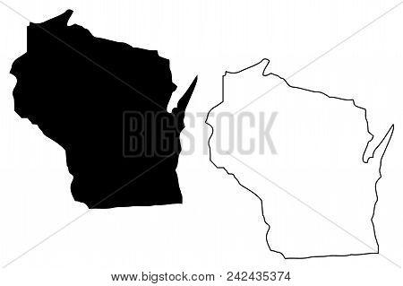 Wisconsin Map Vector Illustration, Scribble Sketch Wisconsin Map