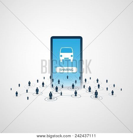 Sharing Economy - Car Renting Or Sharing Design Concept