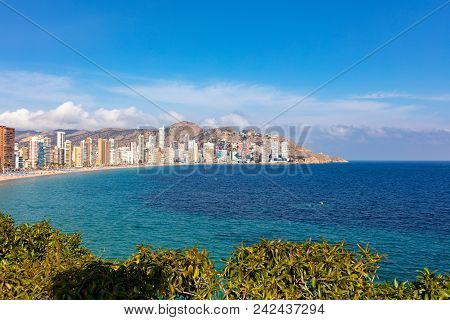 Benidorm Coastline, Levante Beach With Touristic Apartments And Hotels During Sunny Day